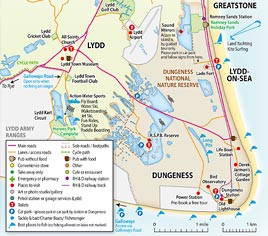 Map of Lydd, Dungeness, Lydd-On-Sea and Greatstone