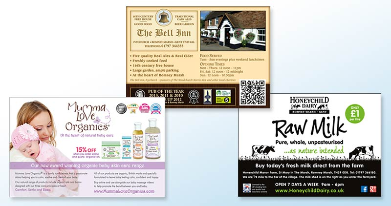 Adverts for Mumma Love Organics, The Bell Inn and Honeychild Dairy
