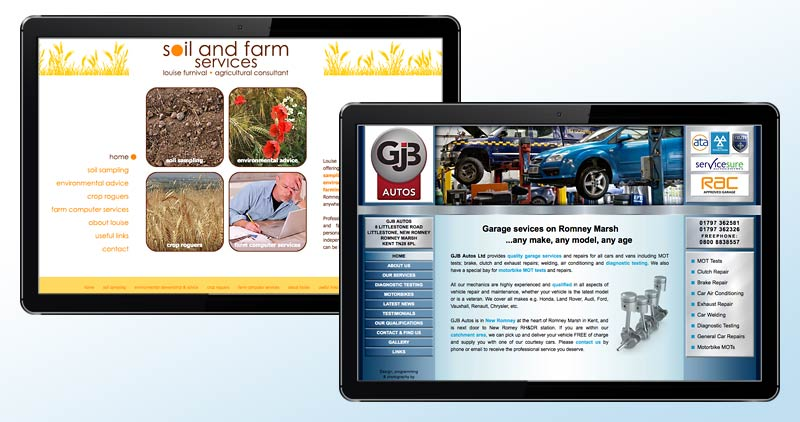Soil & Farm Services and GJB Autos websites
